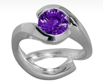 Cradle Deep Purple Amethyst Ring in Argentium Silver, Fashion Ring, Promise Ring