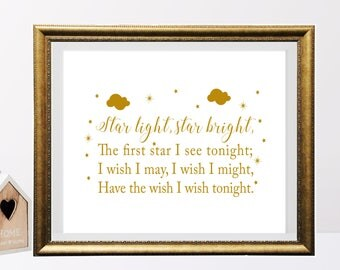 Star Light Star Bright Printable, Nursery decor, Baby shower gift, Children Wall Decor, Bedroom Decor, Nursery rhyme printable, kids room