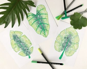Zentangle Leaves - A5 - Set of Three