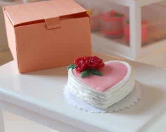 Miniature Heart Cake - Red Flowers, Heart Cake for Barbie or Blythe, Miniature Valentine's Day Cake, Pink Dollhouse Cake