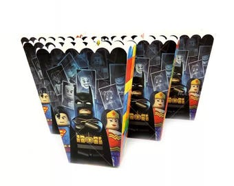 6x Lego Batman Movie Lolly Loot Party Popcorn Box. Party Supplies Banner Bunting Flag Deco Favour