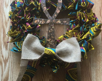 Handmade Wreath with Wooden Ankh and African