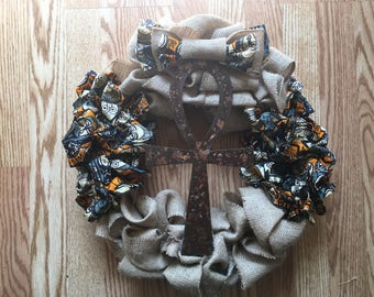Ankh Wreath with African Fabric