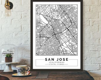 San Jose, California, City map, Poster, Printable, Print, Street map, Wall art