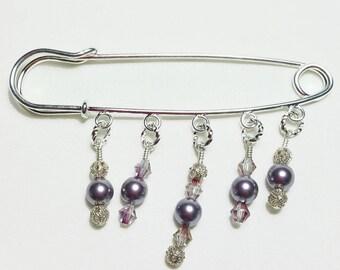 Mauve Pink Pearl Crystal Beaded Filigree Shawl Brooch Kilt Pin