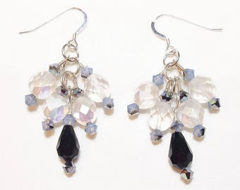 Black and White Opal Crystal Bridal Wedding Earrings