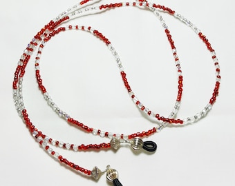 Ruby Red Clear Crystal Beaded Eyeglass Chain