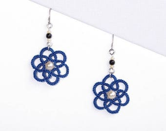 Small blue rose lace earrings