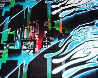 "Kids fabric Panel ""CITY BY NIGHT"" (135 x 195 cm)"