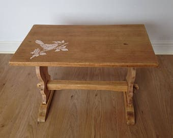 Renovated and upcycled REPRODUX oak side table or end table