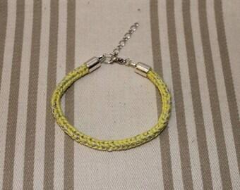 Handmade knitted yellow bracelet