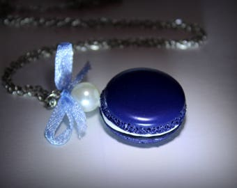 Navy Blue macaroon necklace polymer clay