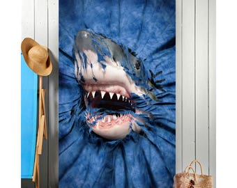 Shark Rip-Thru beach towel, children's bath towel, beach towels for children