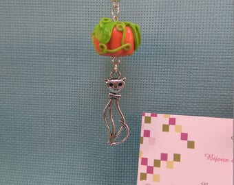 §25§ pendant in polymer clay pumpkin mounted on bail with charm