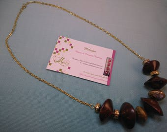 §56§ shades of brown clay necklace