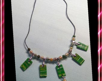 Long necklace made of polymer clay green tone