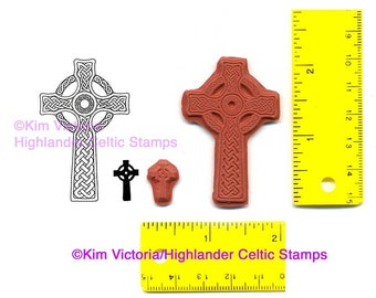 Celtic Christian Cross set of 2 Unmounted Rubber Stamps