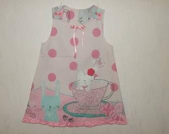 Custom Handmade Teaparty Bunny dress 4-5Y