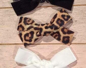 Velvet bow set. Black • white • leopard. Medium sized • hand tied bows • baby • toddlers • clip • headband• JANIE style
