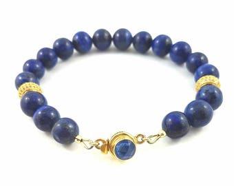 Lapis Lazuli Beaded Bracelet, Healing Gemstone Bracelet, Men's Bracelet, Women's Bracelet, Perfect Wedding, Christmas, Birthday Gift