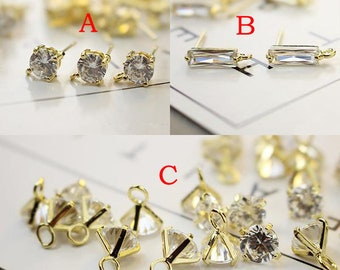2PCS 18K High Quality Gold Plated Brass Earring,Small CZ Charm/Pendant/earrings,CZ bridal earrings,CZ jewelry accessories