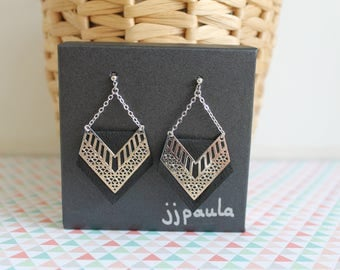 Claire earrings in gold or silver leather