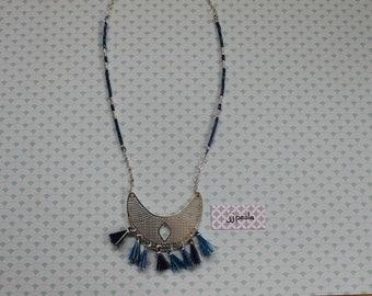 Blue bohemian necklace