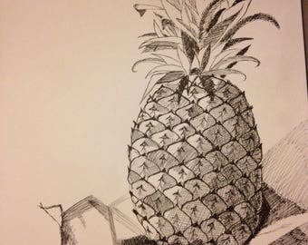 Portrait of a pineapple in black ink, handmade