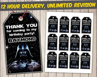 Star Wars Thank You Tags, Star Wars Favor Tags, Star Wars Gift Tags, Star Wars Tags Printables, Darth Vader Favor Tags, Darth Vader Tags
