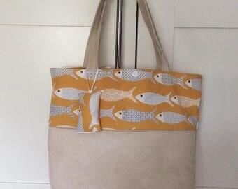 Bag for women elegant way tote bag fabric printed fish and suedin beige