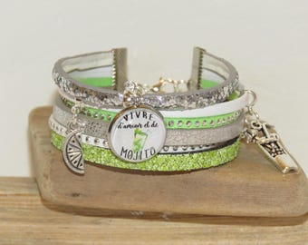 """""""Live love and Mojito"""" Cuff Bracelet, leather and suede sequins, white, green and silver"""