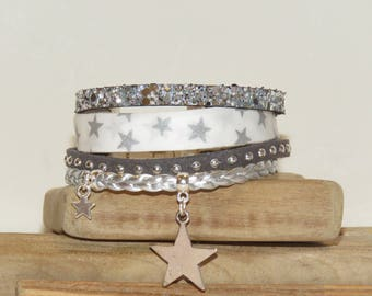 "Cuff Bracelet, multi strand, white, silver, leather, suede, glitter, Star, ""Star of the shepherd"" women bracelet,"