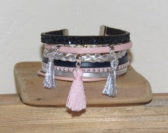 Cuff Bracelet, multi-row, Blue Navy, pink, silver, leather, suede glitter, charm tassels, women bracelet, gift idea