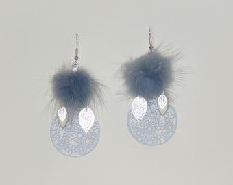 "Tassel earrings blue fur, flower, leaves, charms, ""earrings Poumpoumpidou"" prints Pimprenellecreations"
