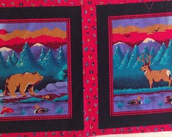 Vintage Cotton Pillow Panels, Deer Pillow, Bear Pillow, Cabin Decor, Rustic Decor, Animal Print Pillow. Southwest Style