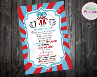Dr Seuss Twin Baby Shower Invitation, Dr Seuss Cat in the Hat Twin Invitation, Baby Boy Baby Girl Shower Invitation,  Printable Invitation