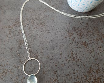 DROP - Necklace with pale green circle and a prehnite gemstone 925 Silver