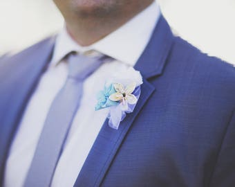 Boutonniere in your color paper flowers