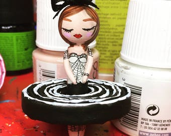 Bicone black and white tutu dancer doll
