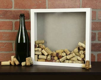 Shadow box - Wine cork or beer cap, or shell or flower or best wishes (guest book) holder