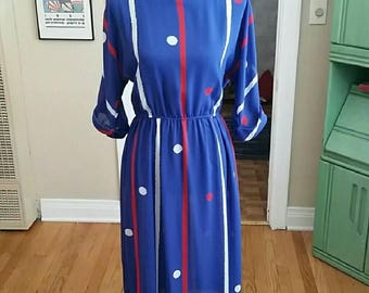 Vintage Leslie Fay Red, White & Blue Sheer Dress!