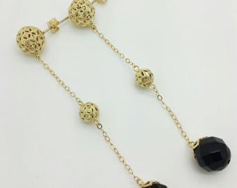 14k Yellow Gold Black Onyx Ball 3 Tier Drop Earrings