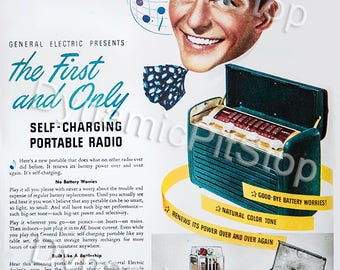 30x40cm G.E Self Charging Radio Vintage Advert Tin Sign