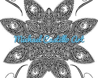 blu flower adult coloring book page - Trippy Coloring Book