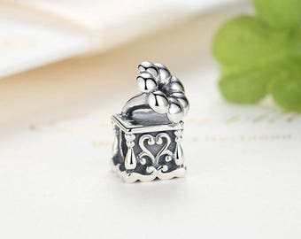 Sterling 925 Silver phonography bead charm pendant charm fits Pandora and European charm bracelet