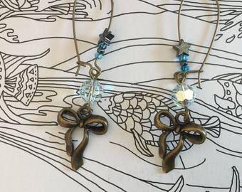Stud Earrings, bronze bow