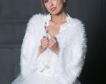 Bridal coat, Wedding knetted bolero, Bridal coat, Ivory coat, White bridal coat.