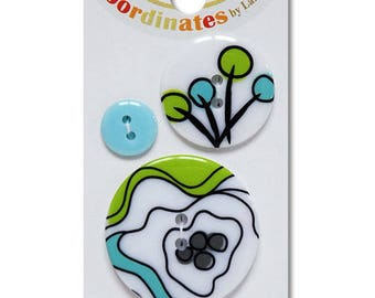 set of 3 buttons abstract blue green floral 3 sizes