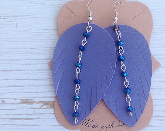 Purple leather feather earrings, Leather earrings, Feather earrings, Statement earrings, Boho