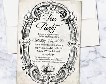 Adult Tea Party Invitation, 5x7, Digital Download